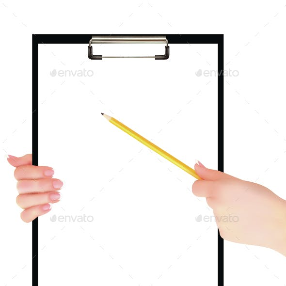 Hands Holding Clipboard
