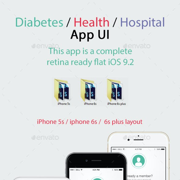 Diabetes Health Hospital Mobile App UI