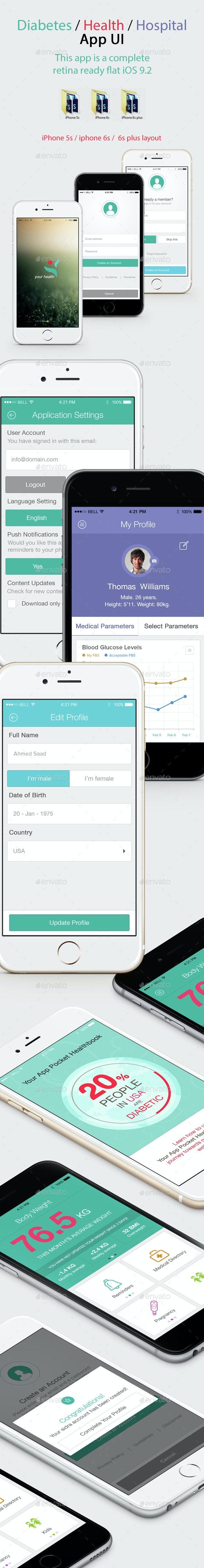 Diabetes Health Hospital Mobile App UI - User Interfaces Web Elements