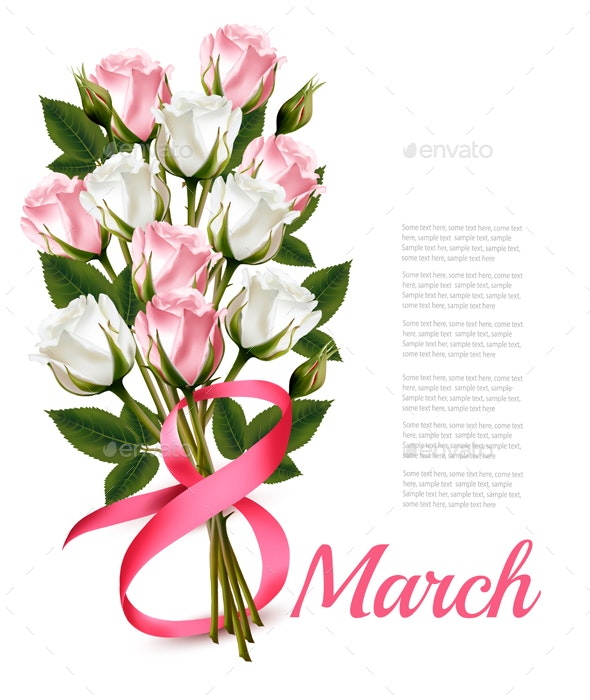 8th March with Red Roses International Womens Day - Miscellaneous Seasons/Holidays