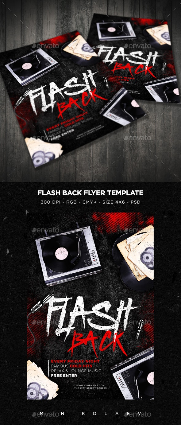 Flash Back Flyer V3 - Clubs & Parties Events