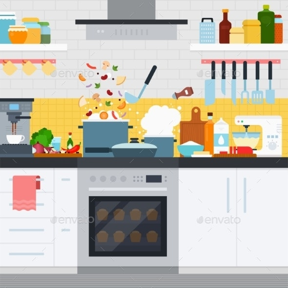Kitchen with Utensils and Dishes Home Cooking - Food Objects