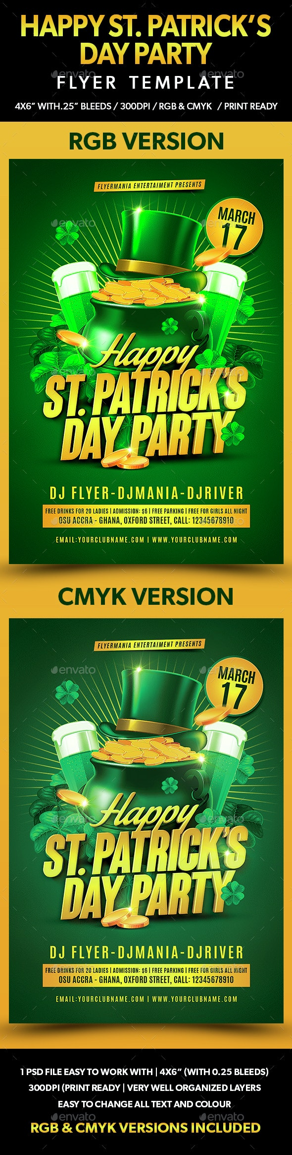Happy St. Patrick's Day Party Flyer Template - Flyers Print Templates