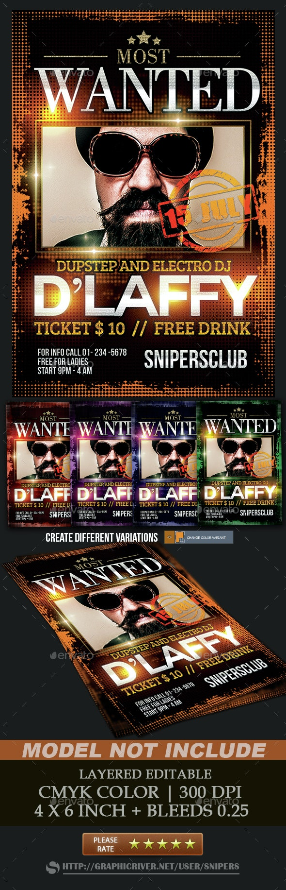Guest Dj Most Wanted  - Events Flyers