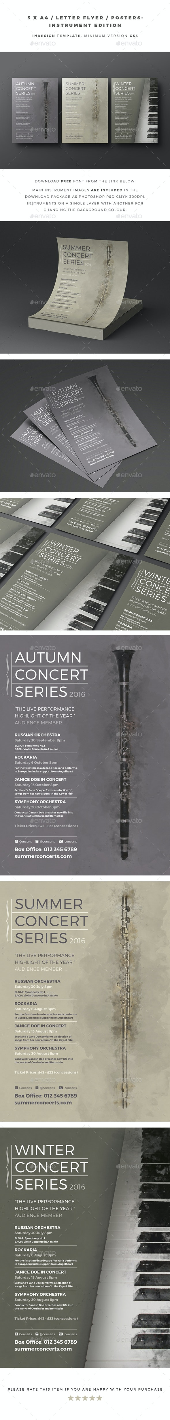 3 x A4 / Letter Flyer / Posters - Instrument Edition - Concerts Events