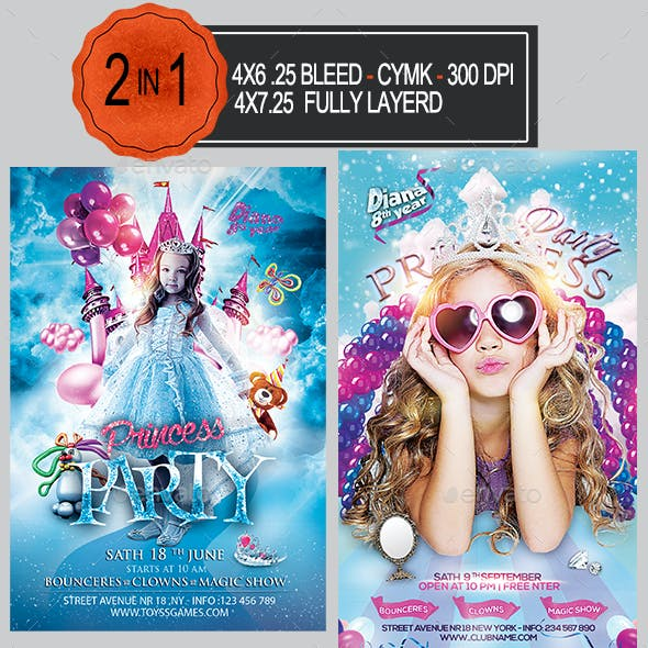 Princess Party Flyer Bundle
