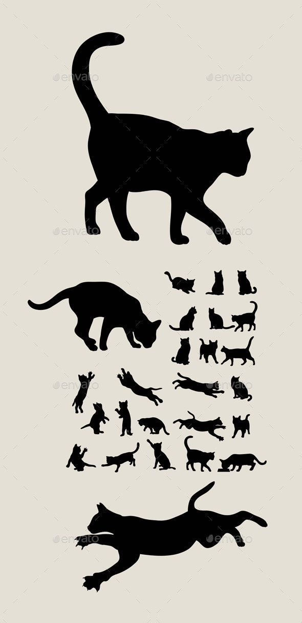Cat Set Silhouettes - Animals Characters