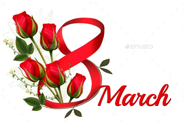 8th March with Red Roses International Women Day - Miscellaneous Seasons/Holidays