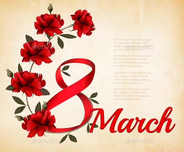 8th March with Red Roses International Women Day Vector - Miscellaneous Seasons/Holidays
