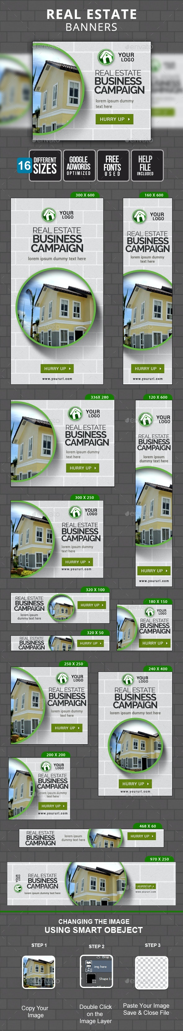 Real Estate Banners - Banners & Ads Web Elements