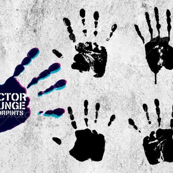 Vector Grunge Hand Prints