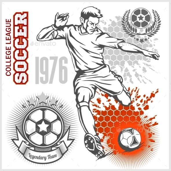 Soccer Player Kicking Ball and Football Emblems - Sports/Activity Conceptual