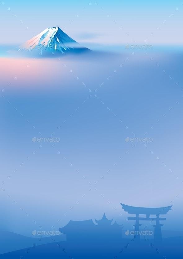 Fuji and Torii - Landscapes Nature