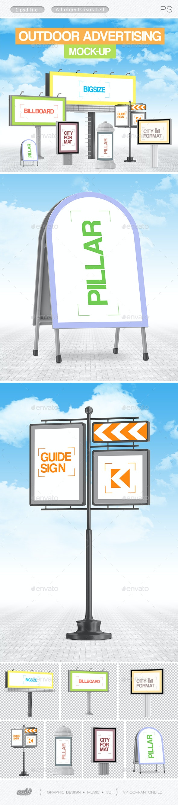 Outdoor advertising mock-up - Product Mock-Ups Graphics