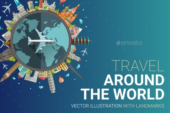 Around The World Flat Design Postcard Illustration - Travel Conceptual