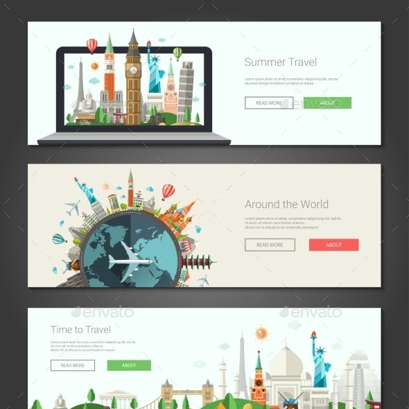 Flat Design Banners, Headers Set Illustration With
