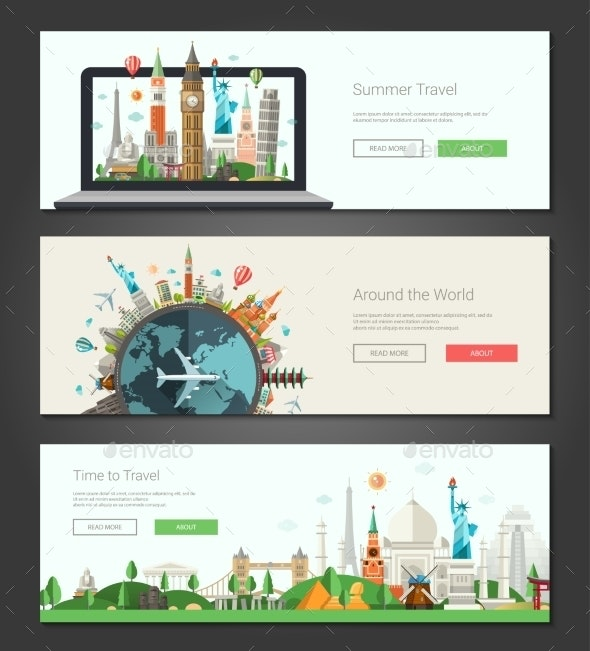 Flat Design Banners, Headers Set Illustration With - Travel Conceptual