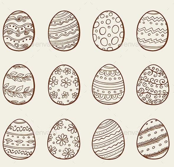 Hand Drawn Eggs - Decorative Symbols Decorative