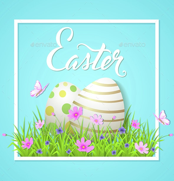 Easter Card with Eggs and Cosmos Flowers - Miscellaneous Seasons/Holidays