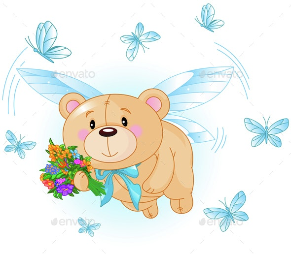 Flying Blue Teddy Bear - Animals Characters