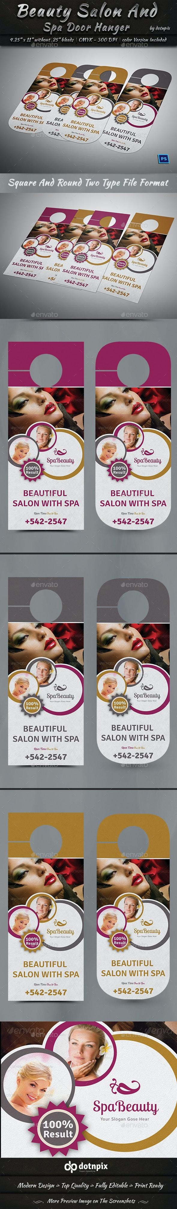 Beauty Salon And Spa Door Hanger - Miscellaneous Print Templates