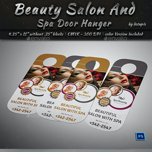 Beauty Salon And Spa Door Hanger