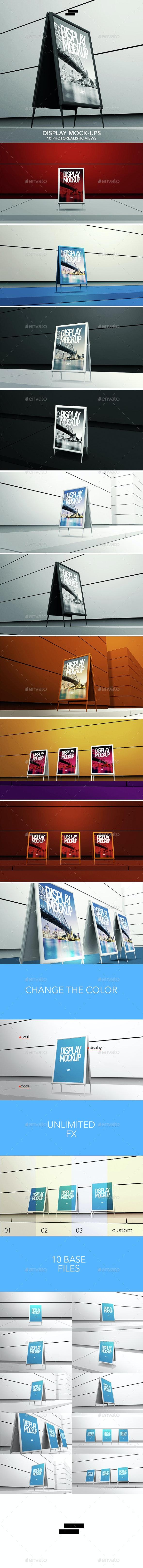 3D Display / Banner Outdoor Mock-ups - Posters Print