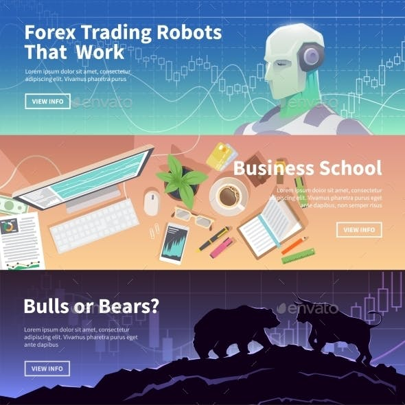 Stock Exchange Trading Set Of Web Banners