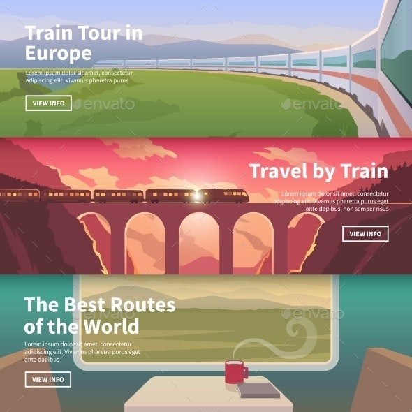 Web Banners On The Theme Of Travel By Train - Landscapes Nature