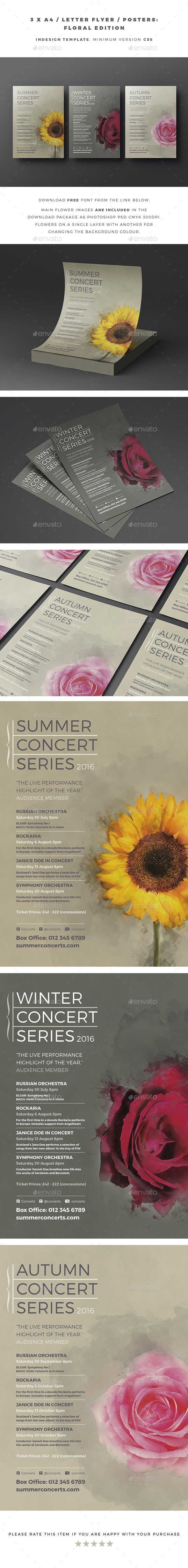 3 x A4 / Letter Flyer / Posters - Floral Edition - Concerts Events