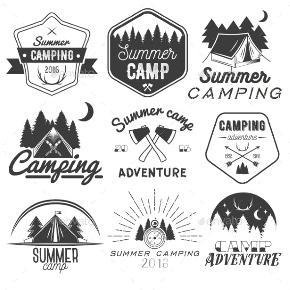 Set of Camping Labels in Vintage Style