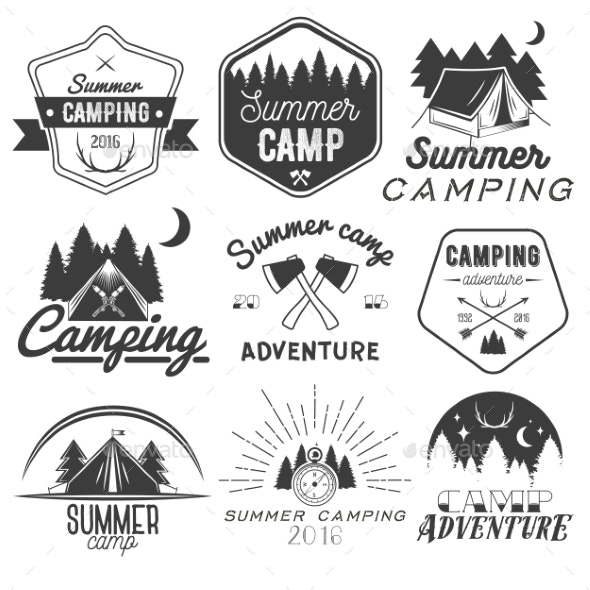 Set of Camping Labels in Vintage Style - Travel Conceptual