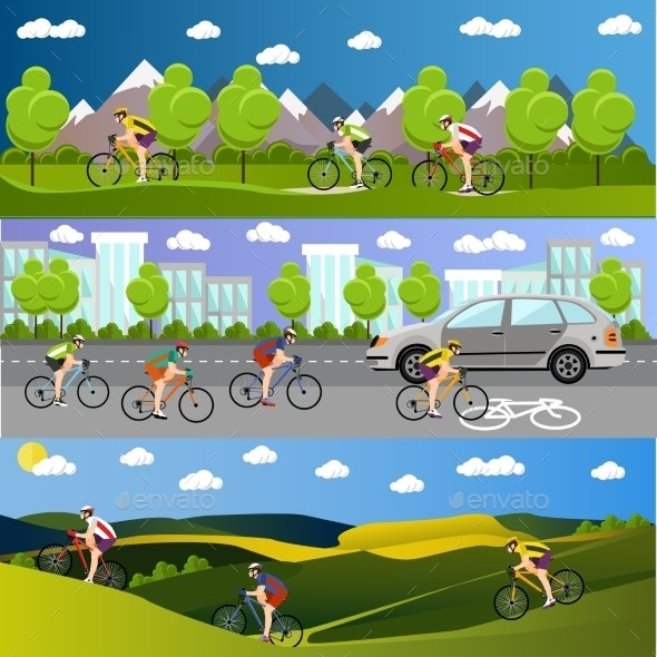 Group of Bicycle Riders in Mountains - Sports/Activity Conceptual