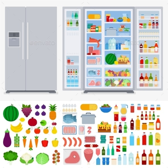 Refrigerator Full of Different Products - Food Objects