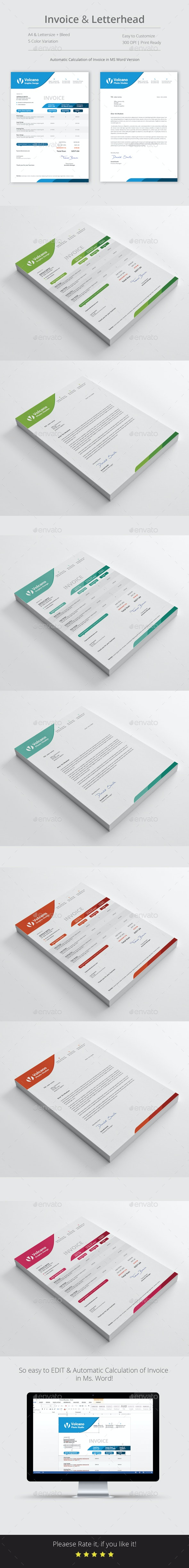 Invoice with Letterhead - Stationery Print Templates