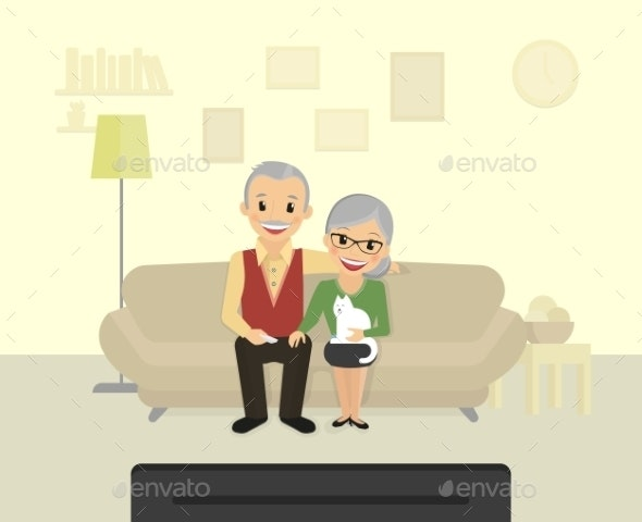 Grandparents Sitting at Home and Watching - People Characters
