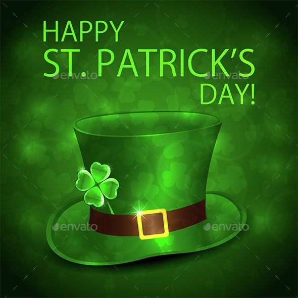 Green Leprechauns Hat and Clover - Miscellaneous Seasons/Holidays