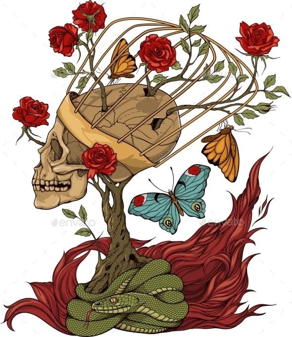 Skull, Bush of Roses, Snake and Flame - Tattoos Vectors