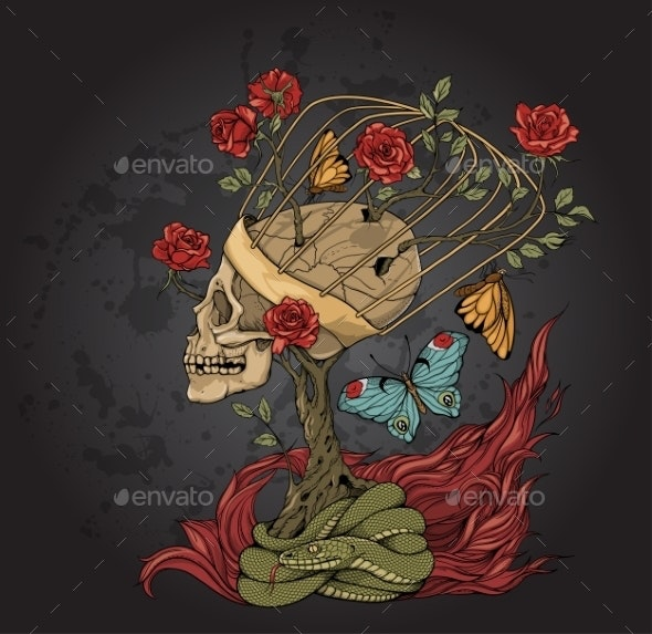 Skull, Bush of Roses, Snake and  Flame - Tattoos Vectors