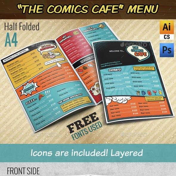The Comics Cafe Menu || A4 Half folded