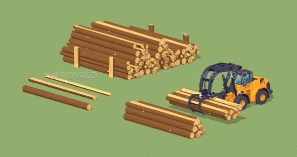 Log Loader and The Log Piles - Industries Business