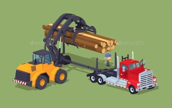 Logs Loading on Truck - Industries Business