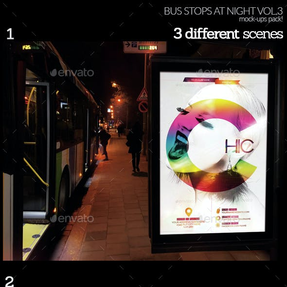 Bus Stops At Night Vol.3 Mock-Ups Pack