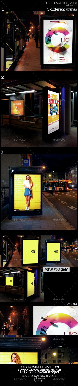 Bus Stops At Night Vol.3 Mock-Ups Pack - Product Mock-Ups Graphics