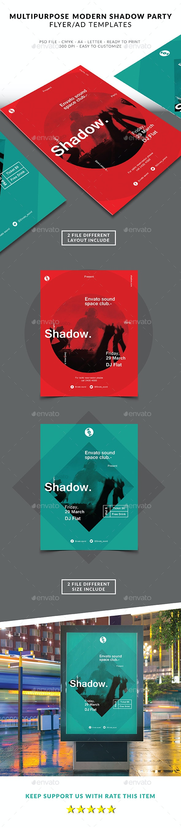 Multipuprose Flyer Modern Shadow Party - Clubs & Parties Events