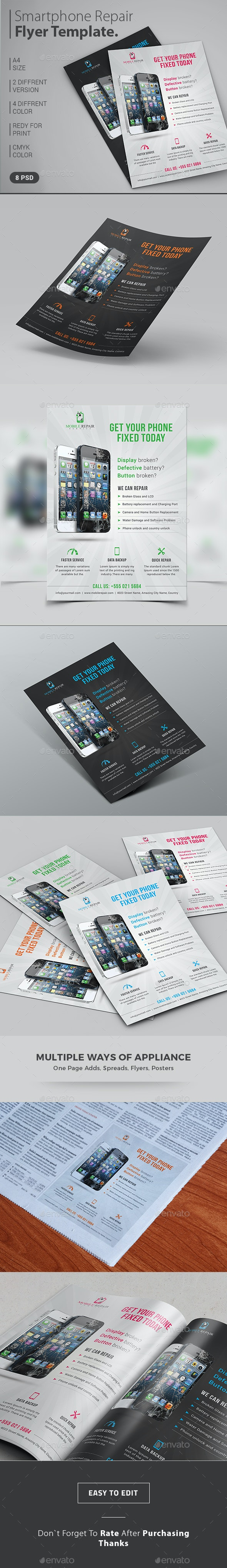Smartphone Repair Service Flyer / Magazine Ad - Commerce Flyers