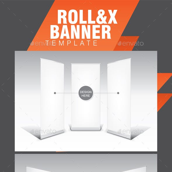 Roll-up and X-Banner White Template