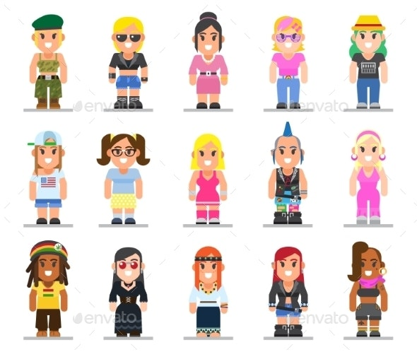 Different Subcultures Woman in Trendy Flat Style - People Characters