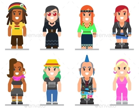 Different Subcultures Woman in Flat Style - People Characters