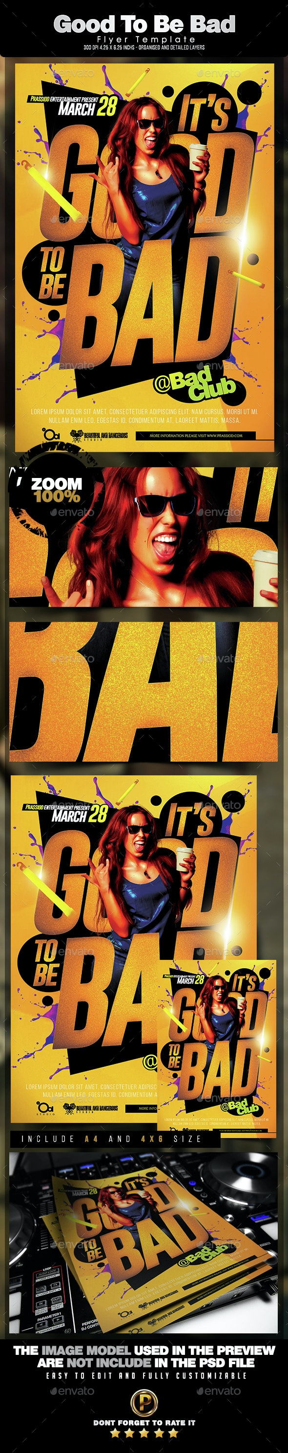 Good To Be Bad Flyer Template - Clubs & Parties Events